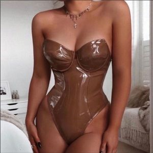 Tan latex leather corset